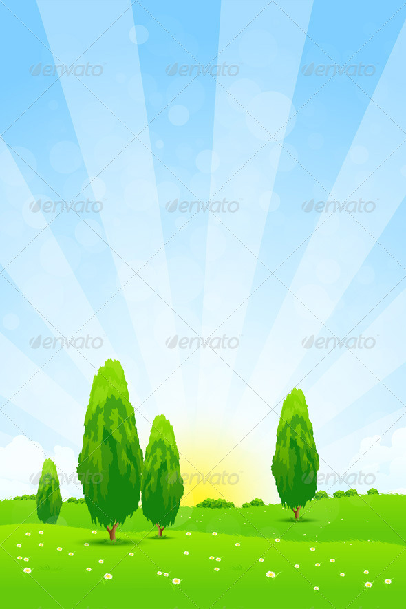 GraphicRiver Green Landscape with Trees 7131570