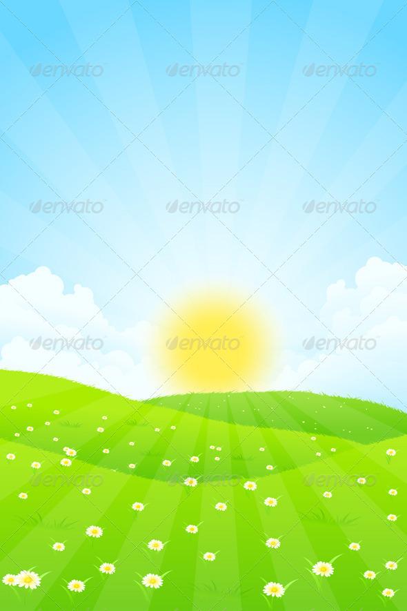GraphicRiver Green Landscape with Sun 7131575