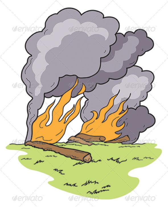 Art Wild Fire Heavy Black Smoke Burning Log
