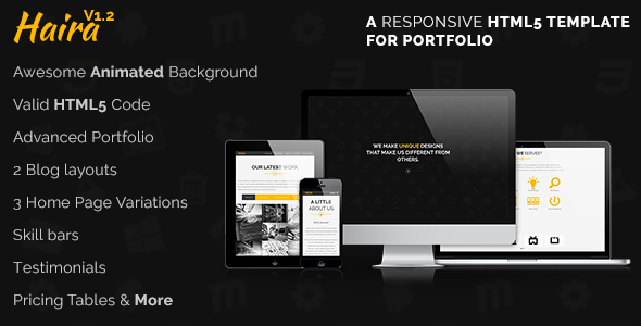 Haira - Responsive HTML5 Template for Portfolio - Portfolio Creative