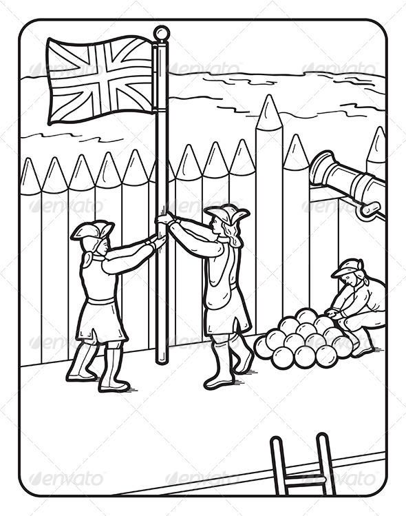 GraphicRiver Art Coloring Book Page Fort Flag Cannon 7069215