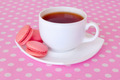 strawberry macaroon and a cup of tea - PhotoDune Item for Sale