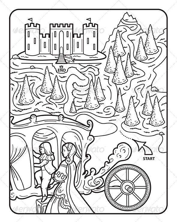 GraphicRiver Coloring Book Page Maze Princess Augusta 7069199