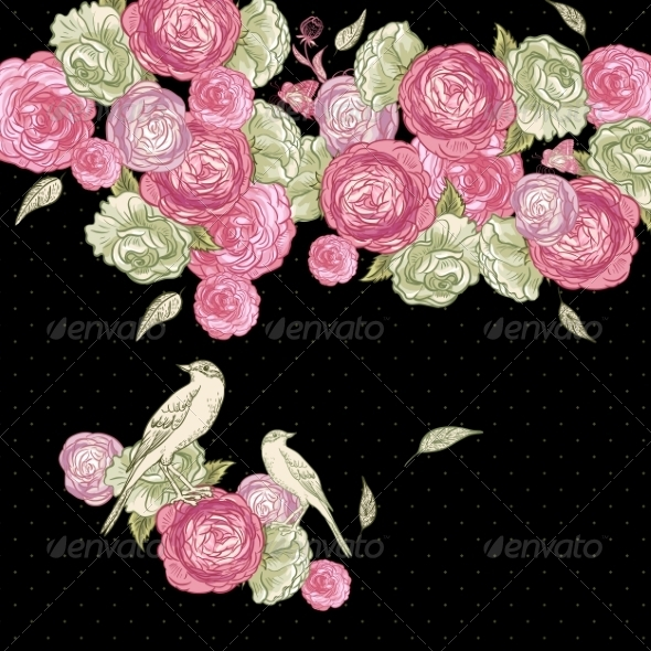 GraphicRiver Rose Background with Birds 7132418