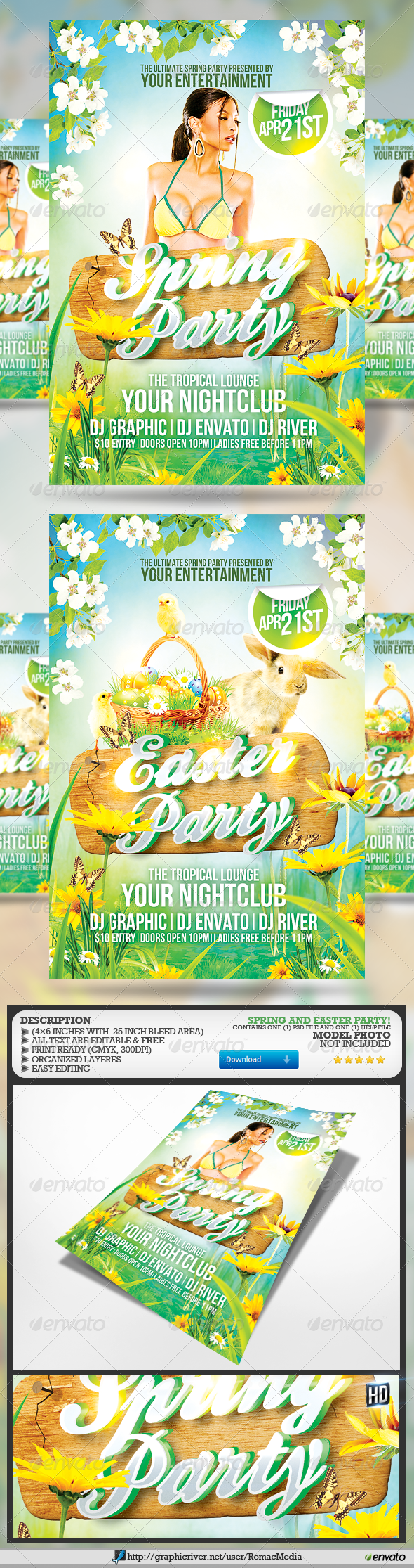 GraphicRiver Spring and Easter Party Flyer 7132490