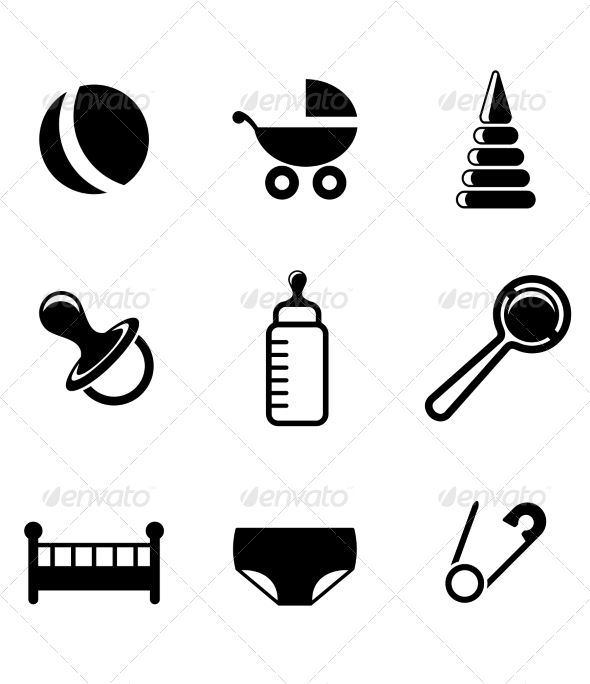 GraphicRiver Baby and Childish Icons 7132505