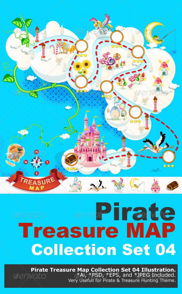 GraphicRiver Pirate Treasure Map Sky Castle 7132574