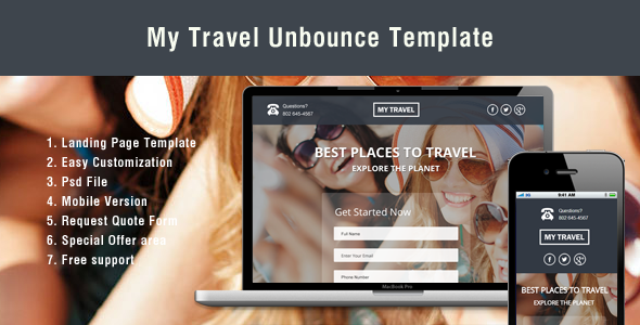 ThemeForest Unbounce Landing Page Template for Travel 7132973