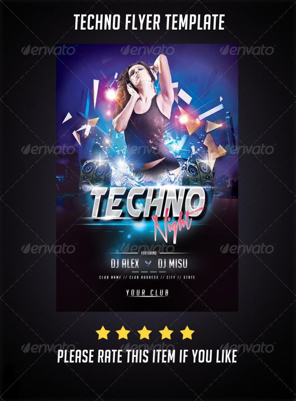 GraphicRiver Techno Night Flyer 7133005