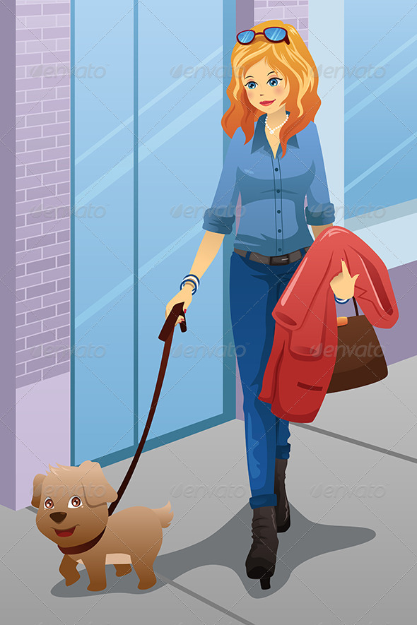 GraphicRiver Woman Walking with her Dog 7133049