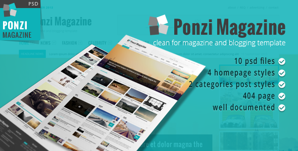 Ponzi Magazine Blog and News PSD Template