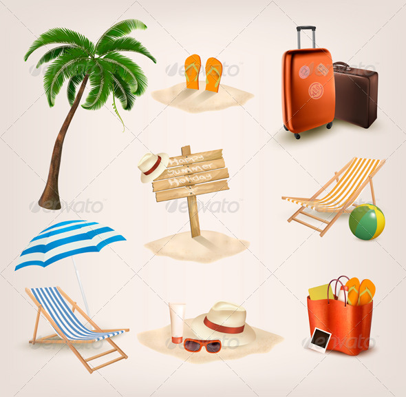 GraphicRiver Set of Vacation Related Icons 7133158