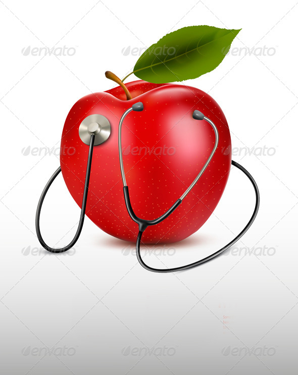 GraphicRiver Stethoscope and Red Apple Medical Background 7133254