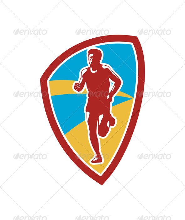 GraphicRiver Marathon Runner Shield Retro 7133322