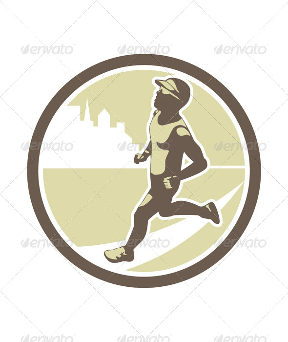 GraphicRiver Triathlete Running Side Circle 7133324