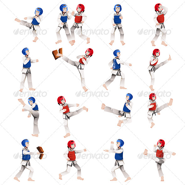 GraphicRiver Boy and Girl in Taekwondo Outfit 7135632