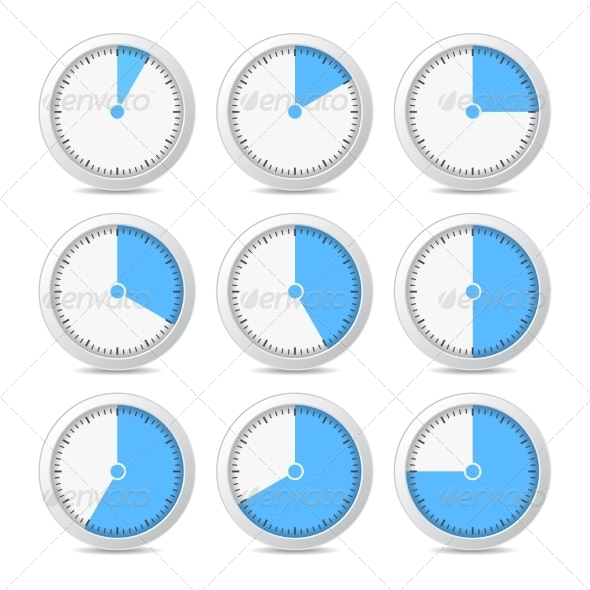 GraphicRiver Timer Icons on White Background 7135822