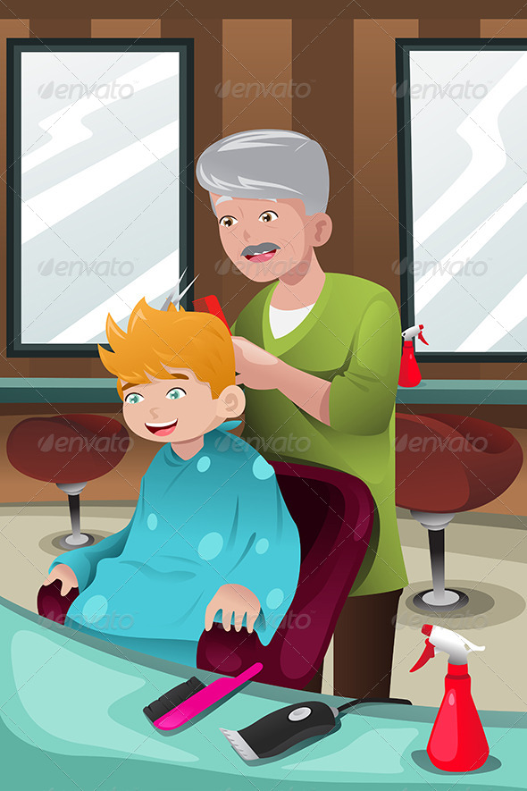 GraphicRiver Kid Getting a Haircut 7135865