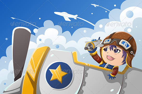 GraphicRiver Kid Playing with an Airplane 7136047