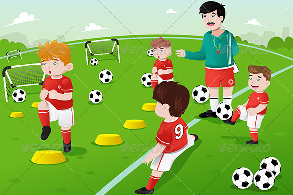 GraphicRiver Kids in Soccer Practice 7136115