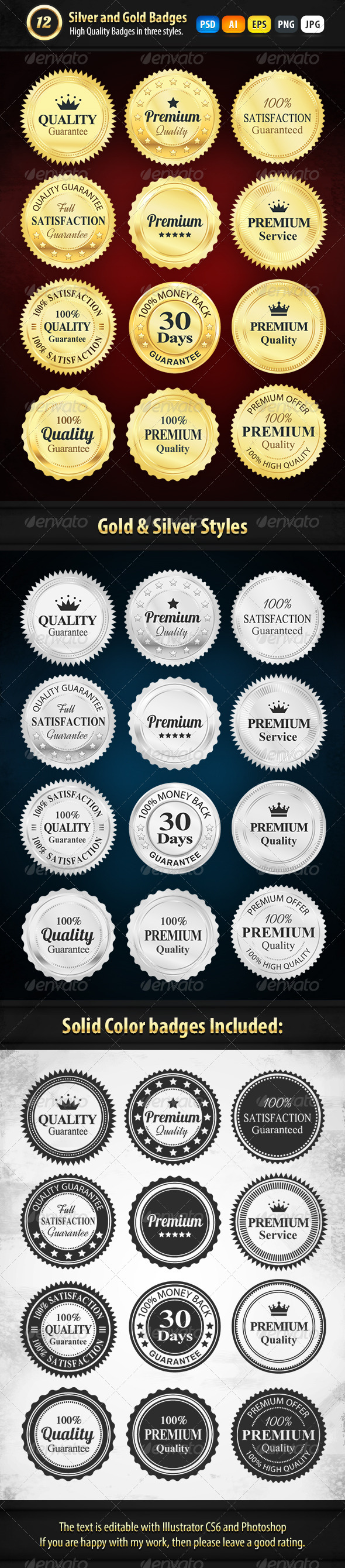 GraphicRiver 12 Gold And Silver Premium Badges 7136144