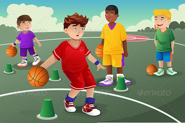Kids in Basketball Practice