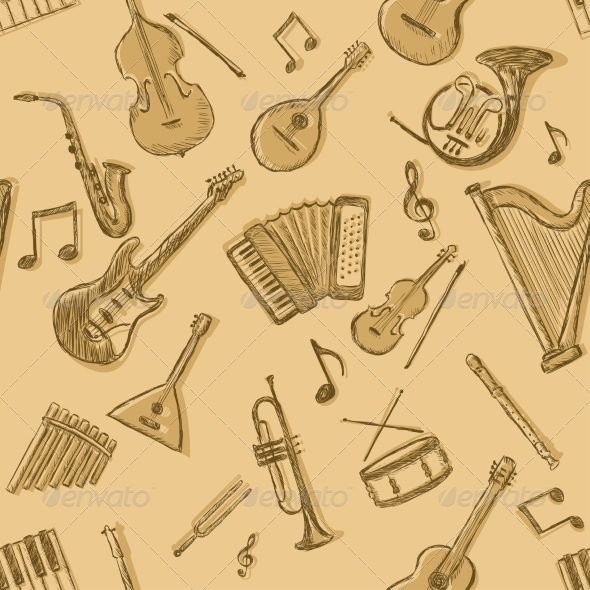 GraphicRiver Vector Seamless Pattern of Musical Instruments 7137158