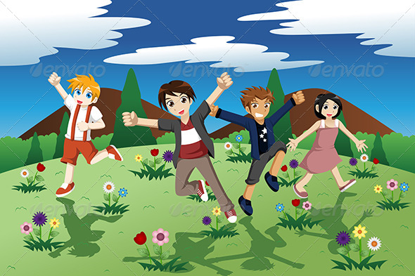 GraphicRiver Children Running on the Open Field of Wild Flowers 7137420