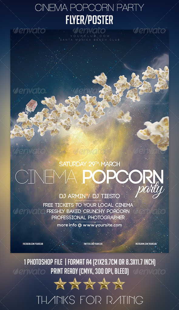 GraphicRiver Cinema Popcorn Party Flyer Poster 7118780
