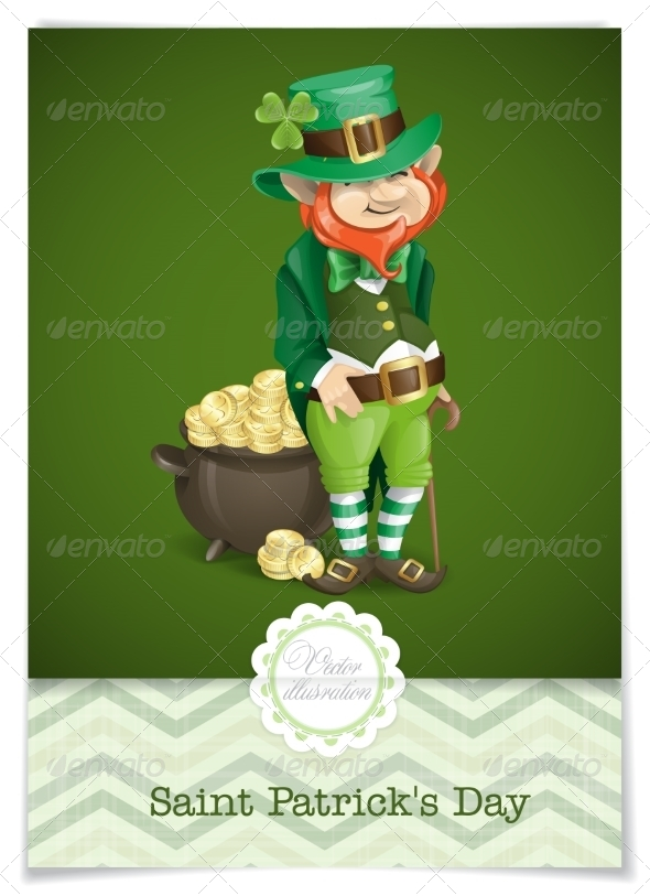 GraphicRiver St Patrick s Day Leprechaun With Pot Of Gold 7138211