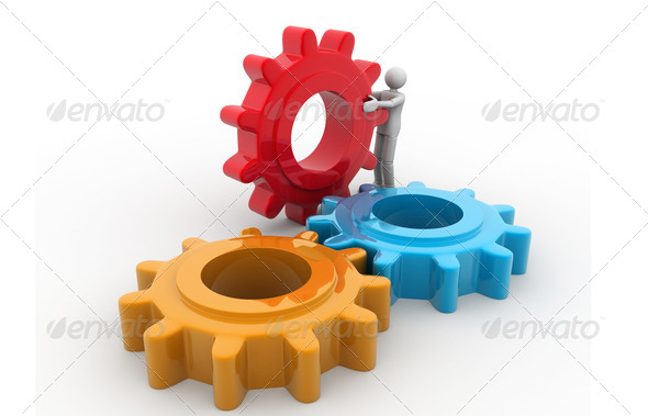 3d man rolling a gear - Stock Photo - Images