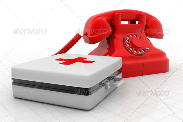 Tele Phone on medical kit - Stock Photo - Images