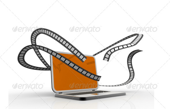 Laptop and films. Multimedia concept - Stock Photo - Images