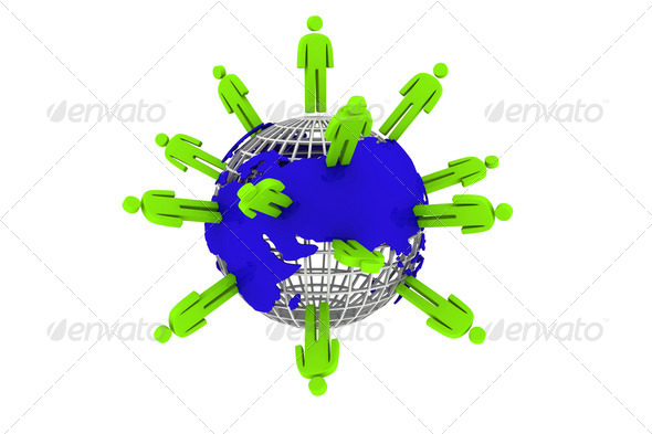 Globe and people - Stock Photo - Images