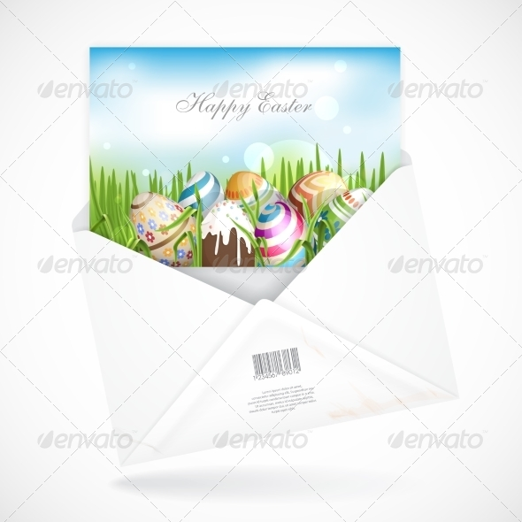 GraphicRiver Easter Background With Eggs In Grass 7138451