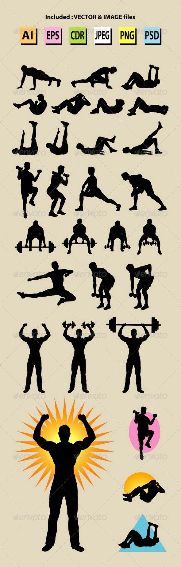 GraphicRiver Male Sport Silhouettes 7138536