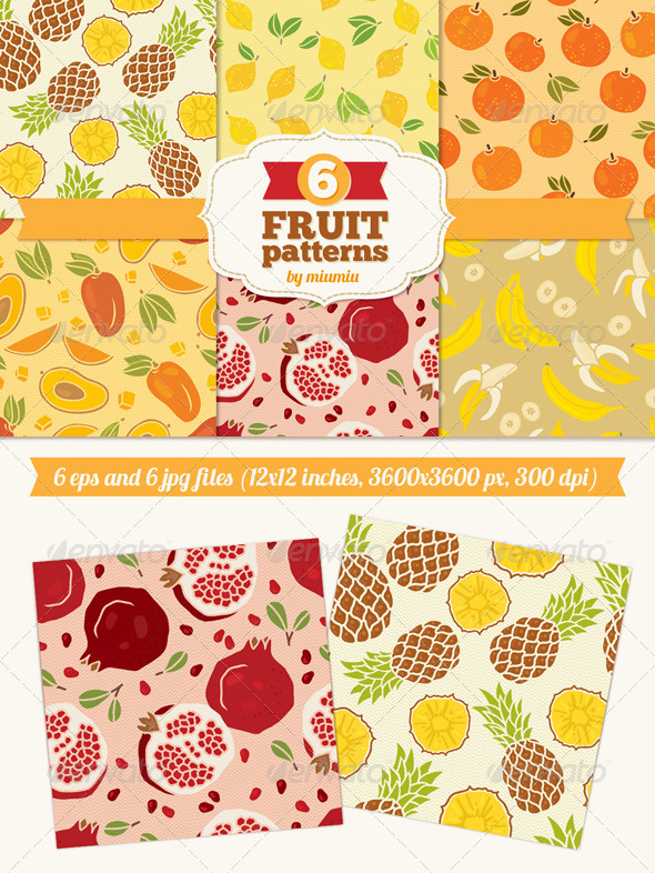 GraphicRiver Seamless Patterns with Fruits 7139797