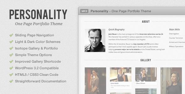 ThemeForest Personality One Page Portfolio WordPress Theme 726202