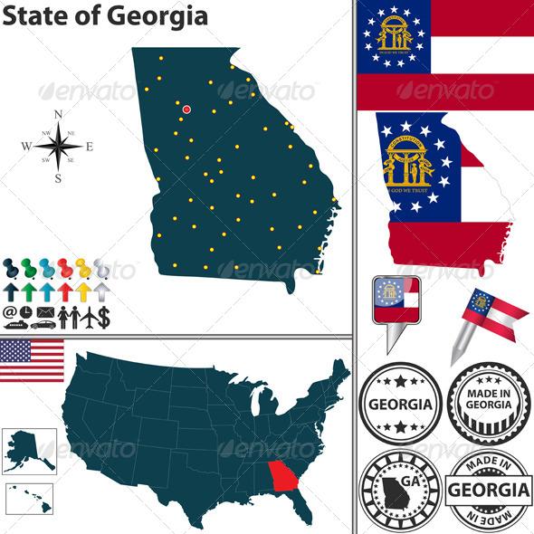 Map of State Georgia USA