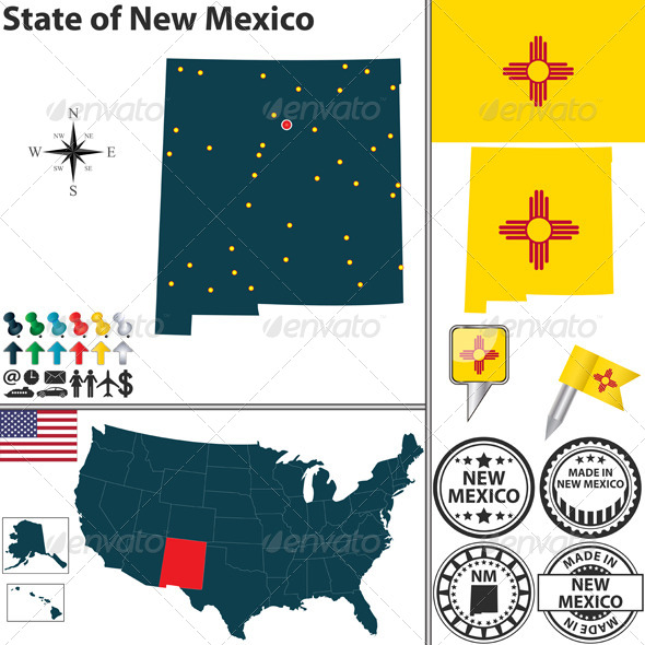 GraphicRiver Map of State New Mexico USA 7140165