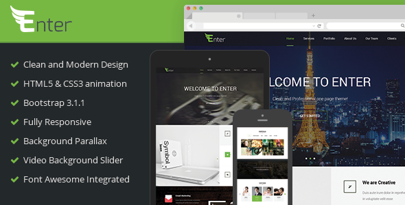 ThemeForest Enter Responsive Onepage Site Template 7067184