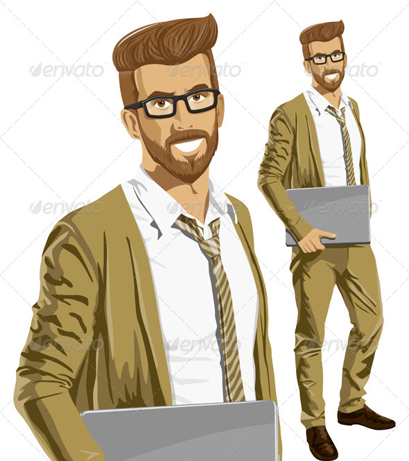 GraphicRiver Hipstar Man with Laptop in His Hands 7140698