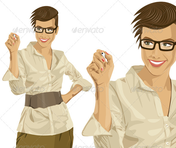 GraphicRiver Vector Hipster Business Woman Writing Something 7140717