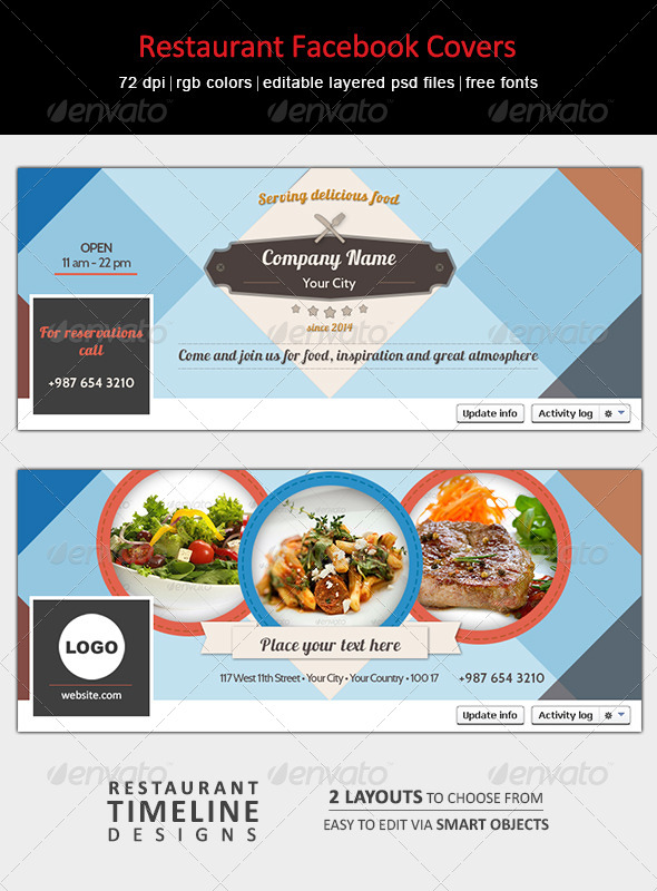 GraphicRiver Restaurant Facebook Covers 7140927