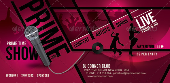 GraphicRiver Prime Time Music Ticket Banner Flyer 7127486