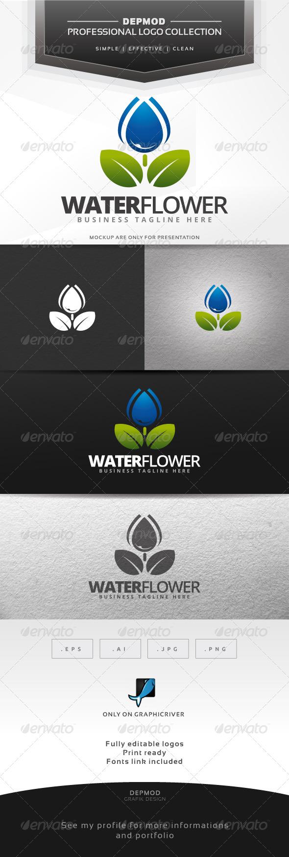 GraphicRiver Water Flower Logo 7141634