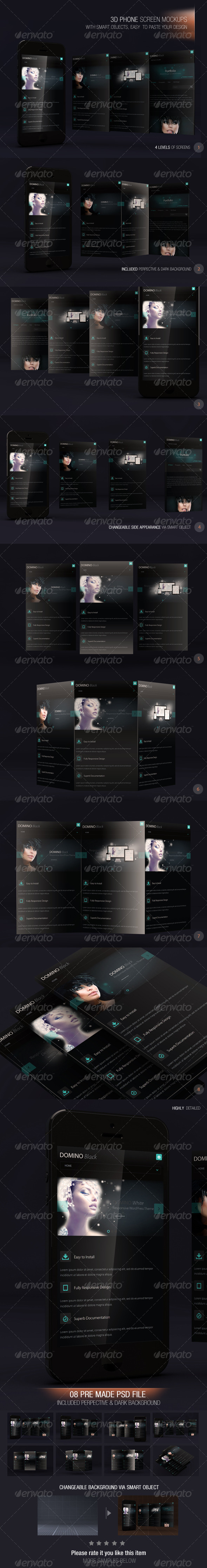 GraphicRiver 3D Phone Screen Mockups 7141635