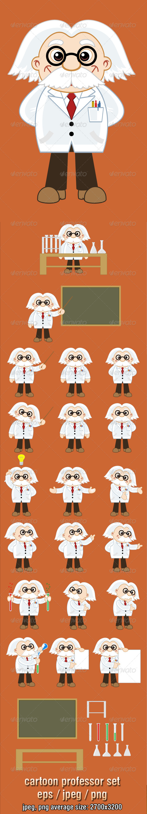 Professor Cartoon Character Set