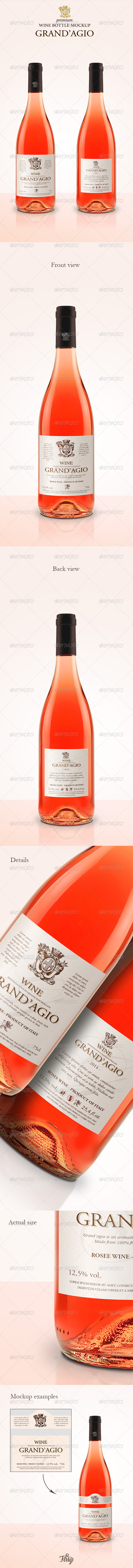 GraphicRiver Premium Rose Wine Mockup 7141676