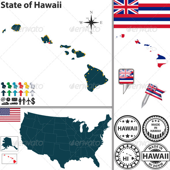 GraphicRiver Map of State Hawaii USA 7141683